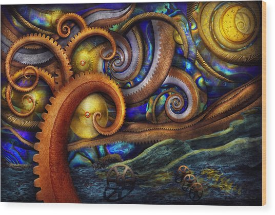 Steampunk - Starry Night Wood Print