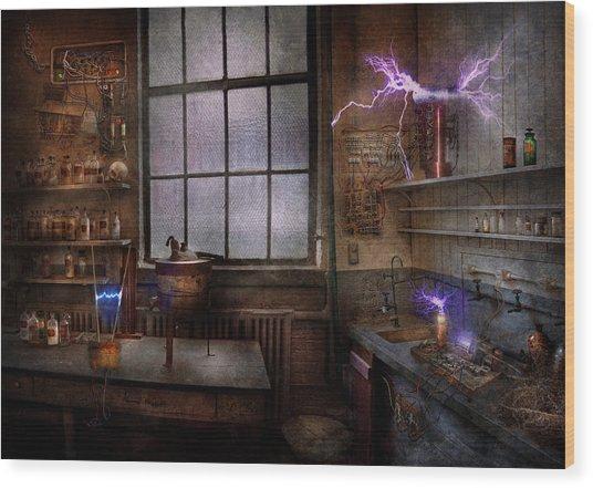Steampunk - The Mad Scientist Wood Print