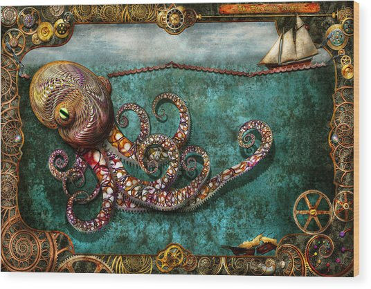 Steampunk - The Tale Of The Kraken Wood Print