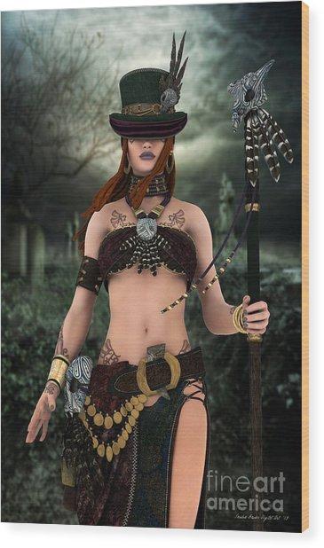 Wood Print featuring the digital art Steampunk Voodoo by Sandra Bauser Digital Art