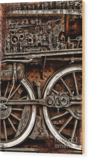 Steampunk- Wheels Locomotive Wood Print