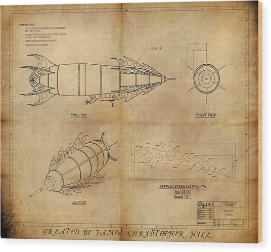 Steampunk Zepplin Wood Print