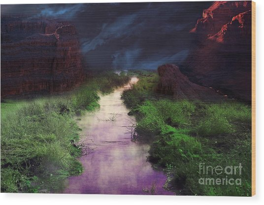 Steamy Creek Wood Print