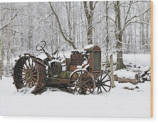 Steel And Snow Wood Print