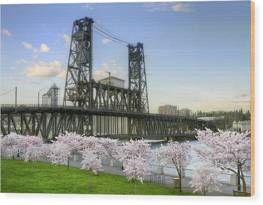 Steel Bridge And Cherry Blossom Trees In Portland Oregon Wood Print