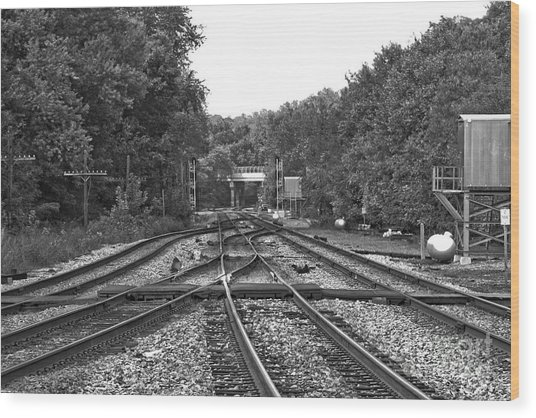 Steel Rail Intersections.   Point Of Rocks Md Wood Print