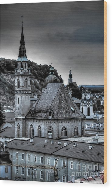 Steeples Over Innsbruck Wood Print