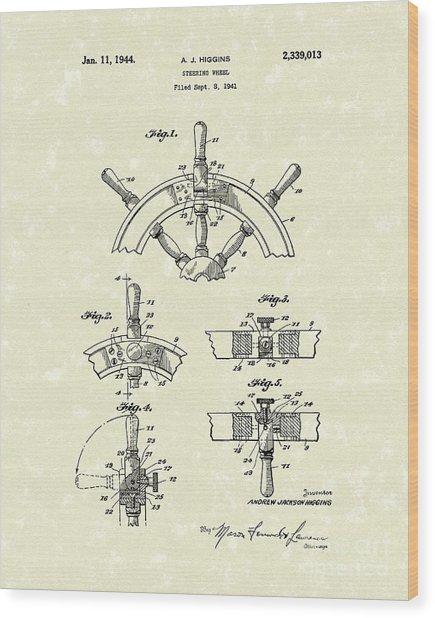 Steering Wheel 1944 Patent Art Wood Print by Prior Art Design