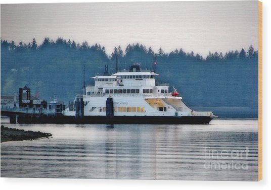 Steilacoom Ferry At Dusk Wood Print