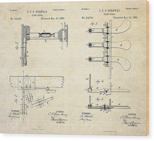 1885 Steinway Piano Pedal Patent Art Wood Print