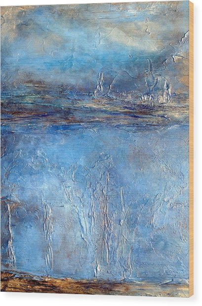 Stellar Wind Abstract Textured Painting Wood Print