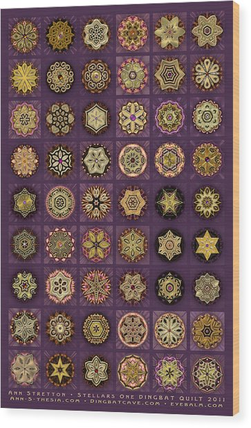 Stellars One Dingbat Quilt Wood Print