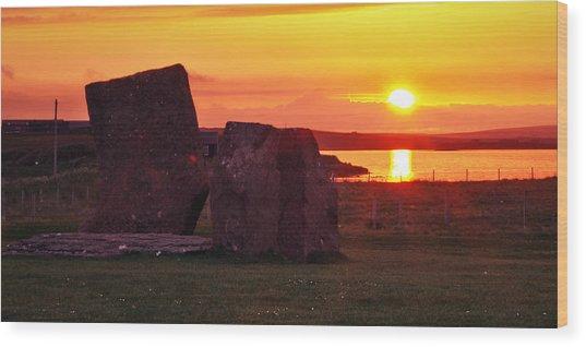 Stenness Sunset 2 Wood Print by Steve Watson