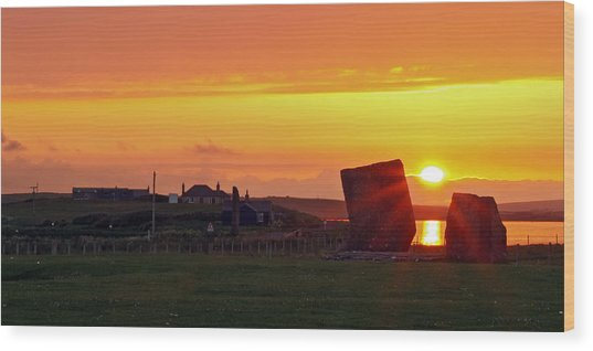 Stenness Sunset 4 Wood Print by Steve Watson