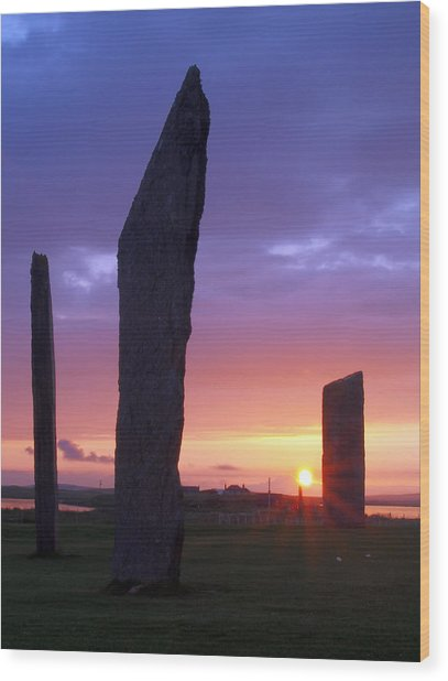 Stenness Sunset 5 Wood Print by Steve Watson