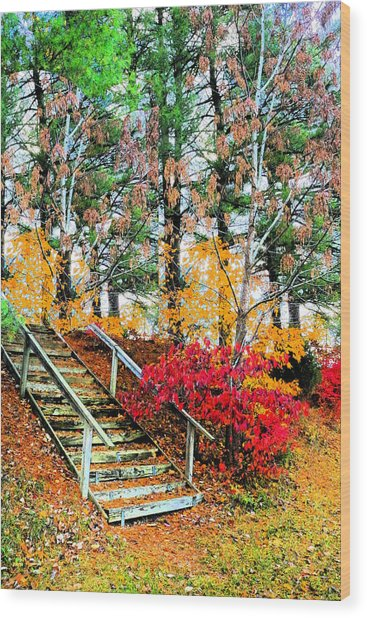 Step Into Autumn Wood Print