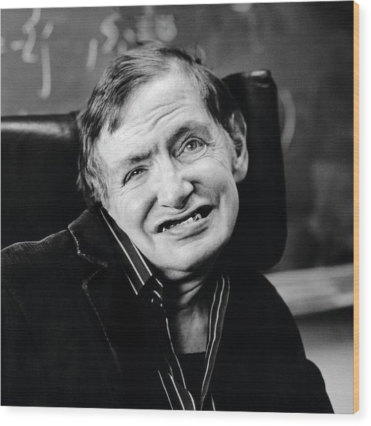 Stephen Hawking Wood Print