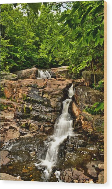 Stepped Falls - Ellsworth New Hampshire Wood Print by Naturally NH
