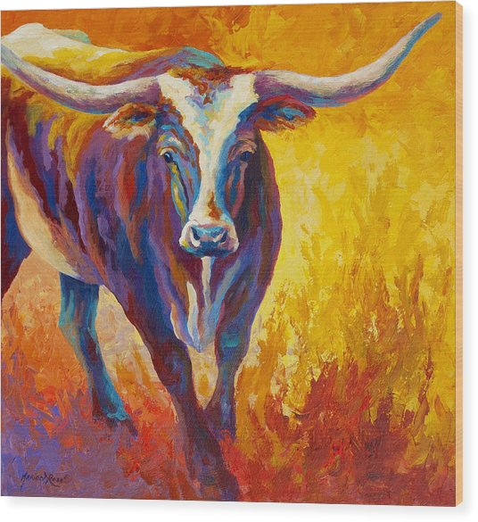 Stepping Out - Longhorn Wood Print