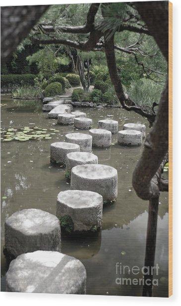 Stepping Stone Kyoto Japan Wood Print