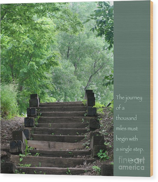 Steps And Lao Tzu Quote Wood Print