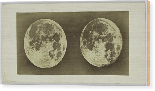 Stereoscopic Image Of The Full Moon, Andries Jager Wood Print
