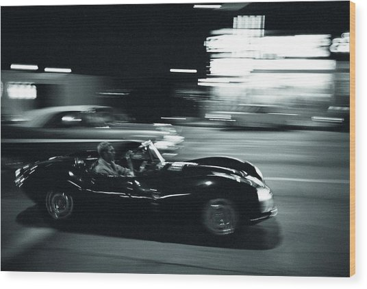 Steve Mcqueen Jaguar Xk-ss On Sunset Blvd Wood Print