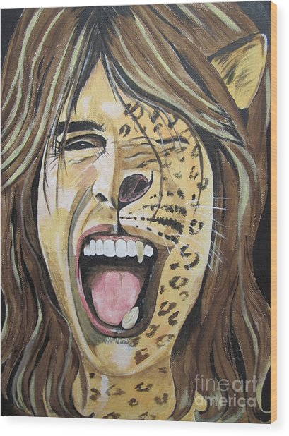 Steven Tyler As A Wild Cat Wood Print