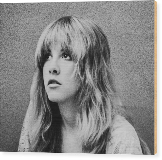 Stevie Nicks Bw Wood Print