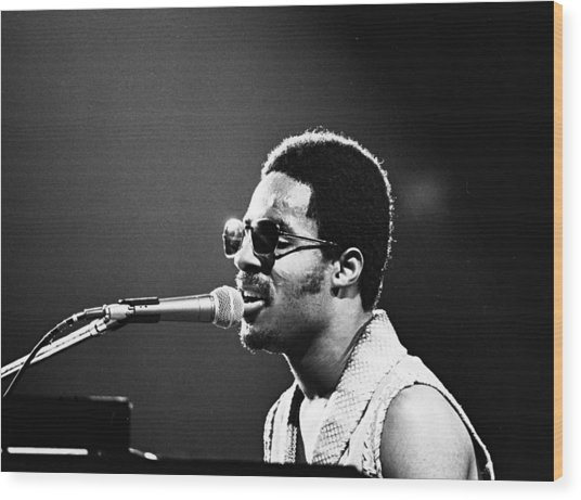 Stevie Wonder - Piano Man Wood Print