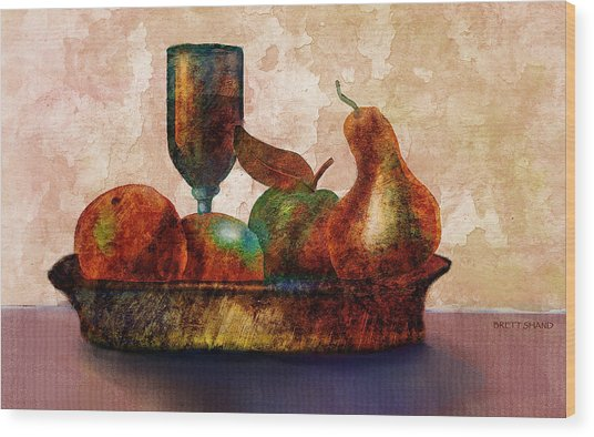 Still Fife - Fruit And Glass Wood Print