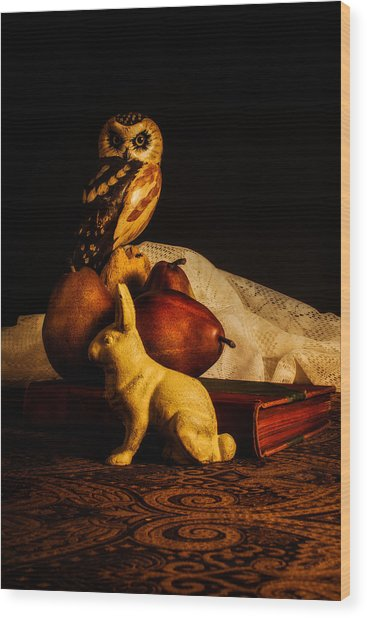 Still Life - Owl Pears And Rabbit Wood Print