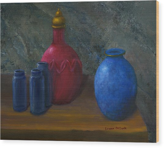 Still Life Art Blue And Red Jugs And Bottles Wood Print
