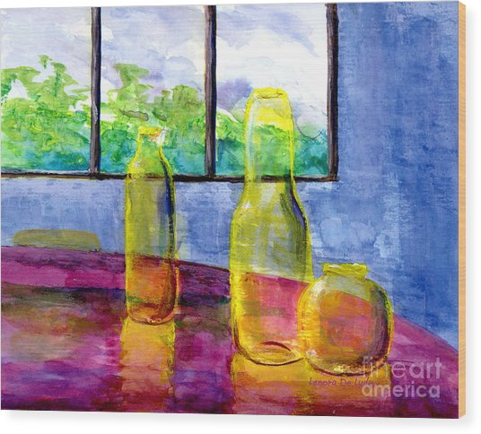 Still Life Art Bright Yellow Bottles And Blue Wall Wood Print