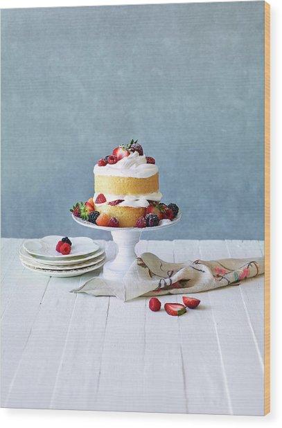 Still Life Berry Cream Layer Cake Wood Print by Annabelle Breakey