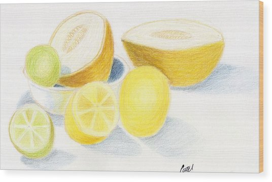Still Life - Citrus Fruit With Melons Wood Print by Bav Patel