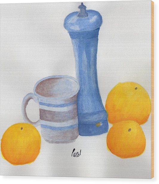 Still Life - Cup With Pepperpot And Oranges Wood Print by Bav Patel