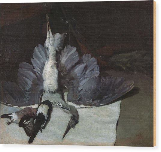 Still-life Heron With Spread Wings, 1867 Oil On Canvas Wood Print