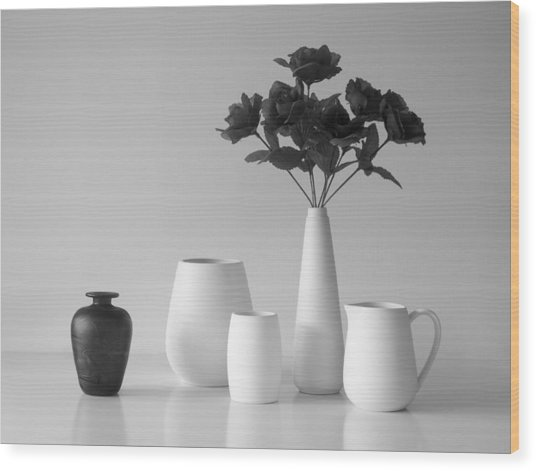 Still Life In Black And White Wood Print by Jacqueline Hammer