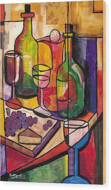 Still Life Of Fruit Wine And Cheese Wood Print