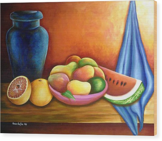 Still Life Of Fruits Wood Print