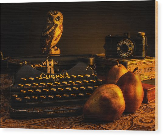 Still Life - Pears And Typewriter Wood Print