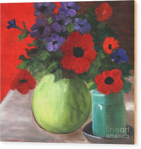 Still Life Poppies And Purple Things Wood Print by Sherrill McCall