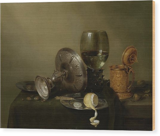 Still Life With A Gilt Cup Wood Print