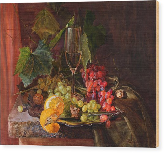 Still-life With A Glass Of Wine And Grapes Wood Print