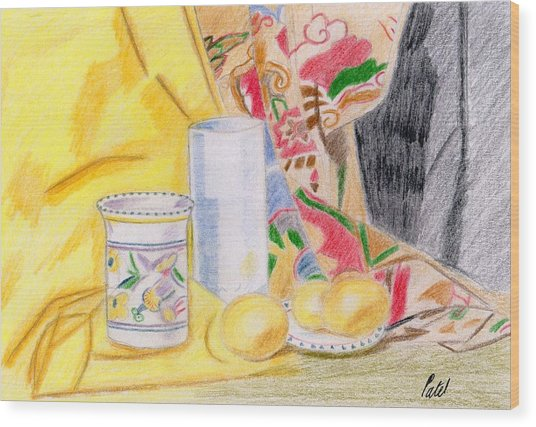 Still Life With A Patterned Background Wood Print by Bav Patel