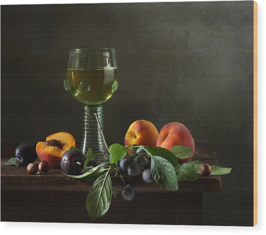 Still Life With A Roamer And Fruit Wood Print by Diana Amelina