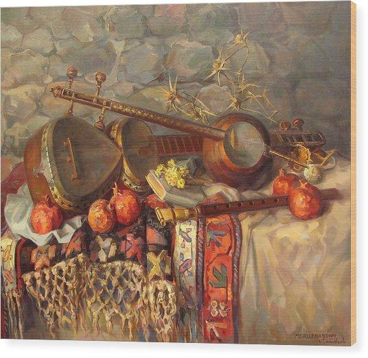 Still-life With Armenian Musical Instruments Duduk Thar And Qyamancha Wood Print by Meruzhan Khachatryan