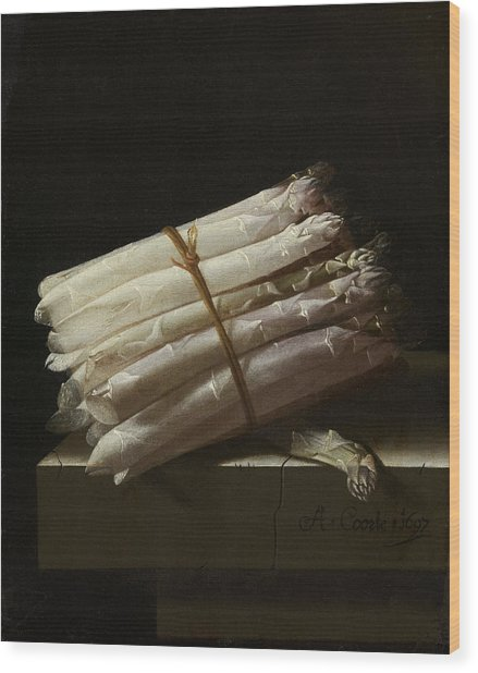 Still Life With Asparagus, Adriaen Coorte Wood Print by Quint Lox