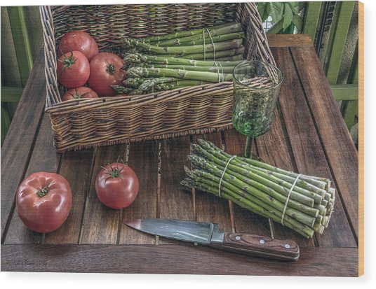 Still Life With Asparagus And Tomatoes Wood Print